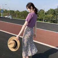 法式小众复古雪纺长裙2020夏季新款收腰显瘦碎花两件套装连衣裙女