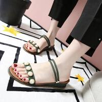 乌龟先森 拖鞋 女士夏季新款韩版百搭拖鞋女式时尚简洁 珍珠坡跟一字凉拖鞋