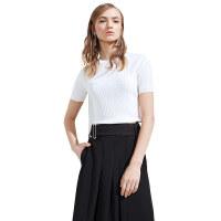颜域品牌女装2018夏新款白色短袖圆领针织衫女修身纯色短款上衣薄