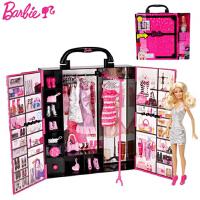 芭比娃娃甜甜屋套装礼盒芭比梦幻衣橱X4833 公主手提箱 女孩玩具