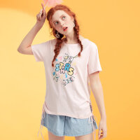 【3件2.5折到手价:16.25】美特斯邦威chic短袖T恤女绑带可爱打底衫学生上衣夏装新款9