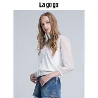 【清仓3折价107.7】Lagogo/拉谷谷2019夏季新款V领网纱拼接女开衫外套针织HAMM754A33