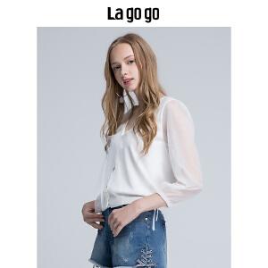Lagogo/拉谷谷2018夏季新款V领网纱拼接女开衫外套针织HAMM754A33