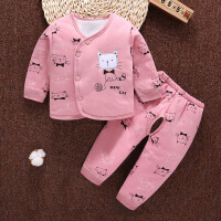 初生婴儿衣服秋冬0-3个月宝宝夹棉套装秋季加厚新生儿和尚服