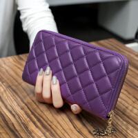 3件7折2018新款韩版菱格长款女士钱包拉链大容量手拿包多卡位钱夹手机包
