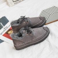短靴子女2018新款冬季网红加绒雪地棉鞋百搭韩版学生短筒雪地靴潮
