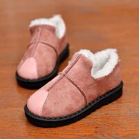 儿童雪地靴秋冬短靴新款男童女童保暖棉靴宝宝冬季加绒棉鞋雪地靴 码(内长16.5CM)