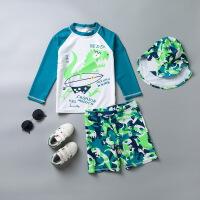 儿童泳衣男分体防晒游泳衣抗紫外线中大童长袖沙滩冲浪服套装 HX-1797+防晒帽