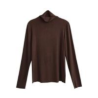 螺纹棉半高领打底衫 秋冬新款修身显瘦百搭大弹力长袖T恤上衣女 均码