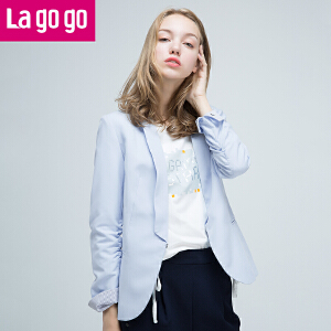 【清仓3折价99.9】Lagogo/拉谷谷2019年秋新款袖口撞色翻边褶皱设计外套