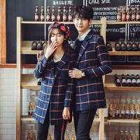 冬季情侣装毛呢大衣男韩国宽松格子中长款时尚呢子风衣男女外套潮