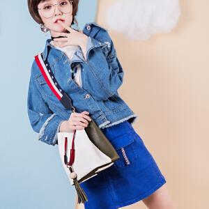 2017秋季新款包包女宽肩带chic水桶包个性韩版流苏手提单肩斜挎包