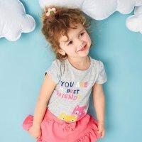 【年前最后狂欢,3件2.2折到手价:21.78】美特斯邦威旗下Moomoo童装女幼童印花短袖T恤夏季新款小宝宝圆领上衣