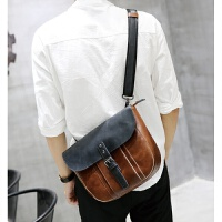 时尚个性青年少年学生单肩包斜挎包男生斜跨韩版休闲疯马皮定型 咖啡色