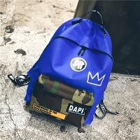 原宿街头潮牌港风印花双肩包撞色迷彩男女学生大容量旅行背包书包