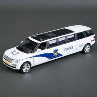 桑塔纳丰田悍马大众奔驰警车儿童合金玩具车模型回力声光1:32 深蓝色 加长路虎警车