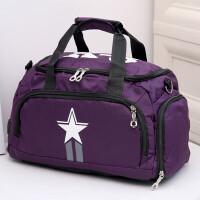 健身包多功能旅行包手提�渭绨�女�\�幽须p肩包旅游斜跨��包瑜伽 紫色加大� 大