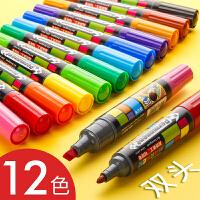 12色油性记号笔彩色双头手绘写粗头大头笔套装pop海报麦克马克笔