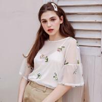 【1件2折到手价:35.2】美特斯邦威雪纺半袖衬衫女碎花刺绣上衣两件夏装新款商场款