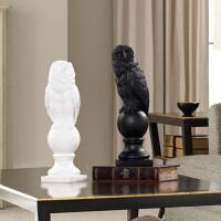 现代简约北欧摆件美式家居客厅样板间软装饰工艺品树脂猫头鹰摆设