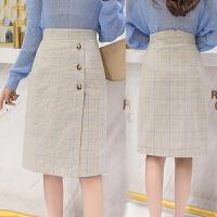 单排口格纹时尚女半身裙2018秋新款显瘦中长款A字包臀裙