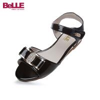 百丽Belle童鞋18新款儿童凉鞋时尚女童时装凉鞋镶钻蝴蝶结夏款休闲鞋(9-12岁可选) 94673D
