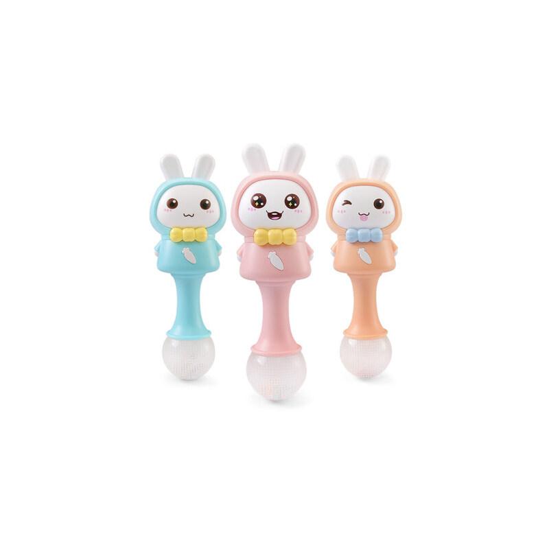 米宝兔宝宝手摇铃玩具0-1岁新生儿益智0-3个月3-6-12个月婴儿玩具 婴儿音乐手摇棒