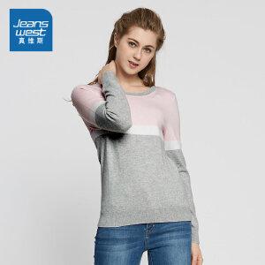 真维斯女装 2018春装圆领撞色拼接长袖毛针织衫