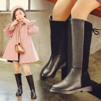 【活动价:138】儿童真皮长筒靴女童靴子春秋款单靴英伦风2018新款过膝公主高筒靴 二棉黑色