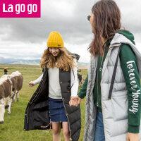 【秒杀价179】Lagogo/拉谷谷2019冬季新款直筒纯色连帽羽绒马甲