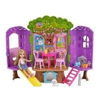 芭比娃娃小凯莉树屋休闲屋大别墅城堡套装女孩公主礼盒玩具FPF83 约25cm