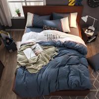 秋冬水洗棉床上四件套床品床单被套北欧单人双人床上用品1.8m床