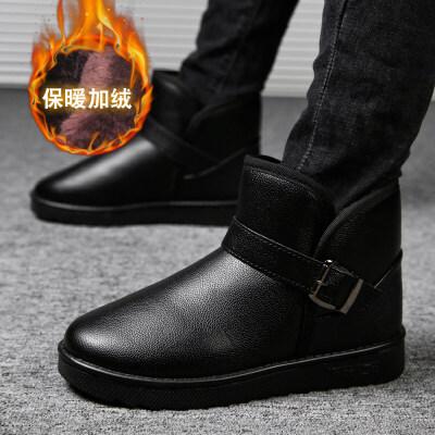 雪地靴男2018冬季保暖加绒加厚短筒防滑面包鞋棉鞋高帮棉靴毛靴子srr