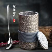 拾野丨麦饭石水杯简约咖啡杯复古茶杯子陶瓷马克杯带盖日式
