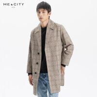【2件1.5折价:149.9,可叠券】MECITY男装冬季时尚格子中长款风衣男士休闲外套男
