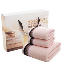 毛巾浴巾礼盒三件套/套装公司礼品结婚生日回礼绣字定制logo 柠檬黄 四条彩粉色礼盒 140x70cm