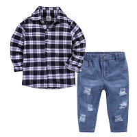 春装新款男童长袖衬衫牛仔长裤套装中小童2018春季洋气两件套潮