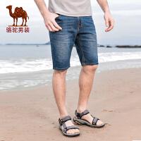 骆驼牌男装 夏季新款五分裤短裤子中腰直筒水洗青年牛仔裤
