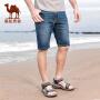 骆驼牌男装 2018夏季新款五分裤短裤子中腰直筒水洗青年牛仔裤