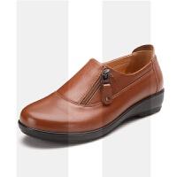 中年女鞋妈妈鞋真皮软底秋冬加绒防滑舒适平底中老年人单鞋女皮鞋SN6550