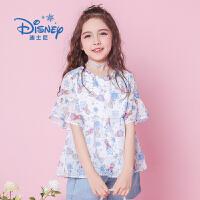 【3件3折后价:49.9元】迪士尼冰雪奇缘童装女童夏装2020春夏新品艾莎雪纺衬衫