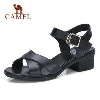 Camel/骆驼真皮凉鞋女2018夏季新款中跟粗跟妈妈鞋露趾简约百搭休闲女鞋