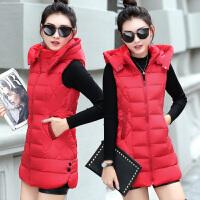 羽绒棉马甲女秋冬装新款韩版中长款马夹加厚显瘦外套可脱卸帽