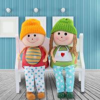 木质吊脚娃娃家居装饰情侣小礼品 超萌摇头娃娃实木工艺摆件 图片色 2个/套/盒