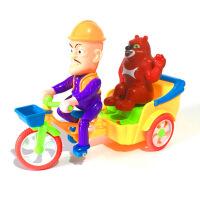 ?光头强骑三轮车带熊大灯光音乐儿童电动玩具 光头强骑三轮车带熊大