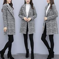 呢子大衣外套上衣女装2018秋冬新款小个子毛呢外套女中长款韩版修身格子呢子大衣女反季 图片色
