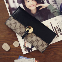 新款薄款钱包女士长款钱包横款钱夹大容量撞色钱包卡包