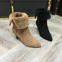 欧洲风格站2017秋冬新款女鞋羊皮毛一体尖头棉靴中筒加绒保暖靴子