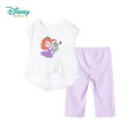 迪士尼(Disney)童装 女童公主印花套装夏季新品网纱拼接短袖舒适裤子2件套192T896