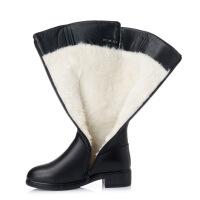 №【2019新款】冬天穿的高筒羊毛靴子女平底加绒中筒靴中跟厚底马丁靴大码43棉靴